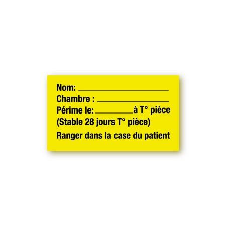 NOM / CHAMBRE / PÉRIMÉ LE / STABLE TEMPÉRATURE PIÈCE