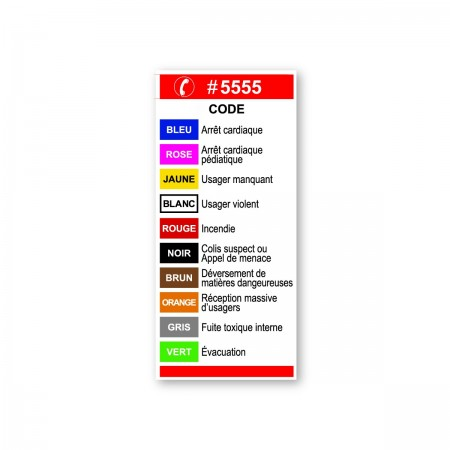 5555  CODES TÉLÉPHONIQUES -- URGENCES