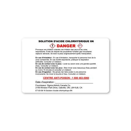 DANGER - SOLUTION D'ACIDE CHLORHYDRIQUE 6N