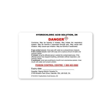 DANGER -  HYDROCHLORIC ACID SOLUTION 2N