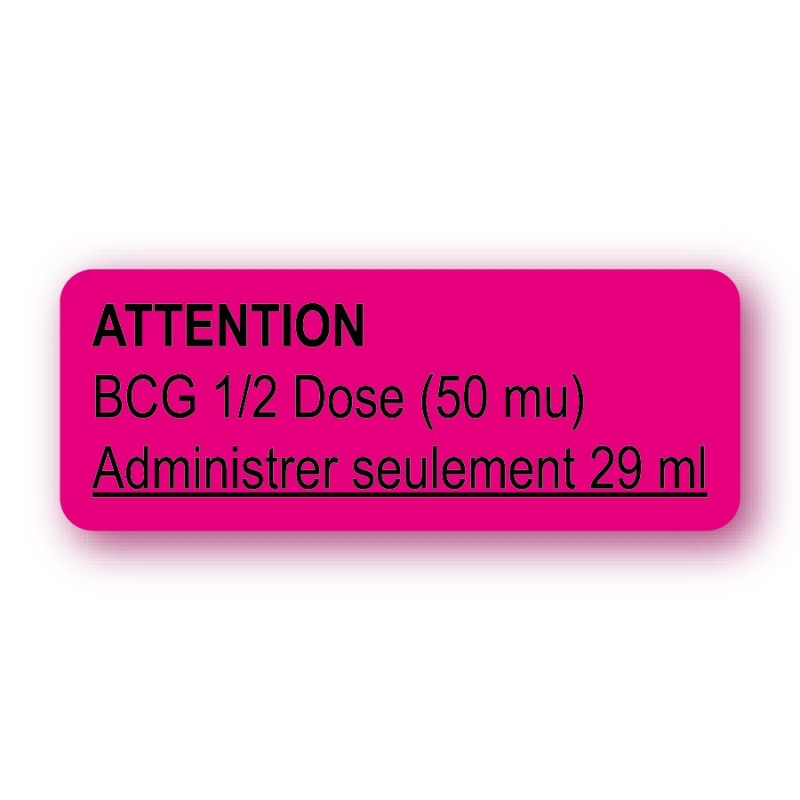ATTENTION BCG 1/2 DOSE