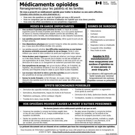 MÉDICAMENTS OPIOÏDES -- RENSEIGNEMENTS POUR LES PATIENTS (SANTÉ CANADA)