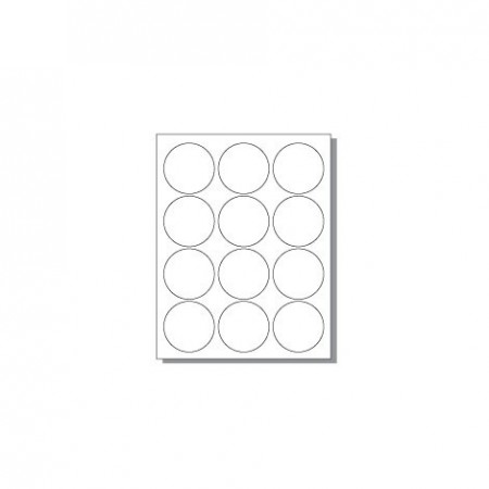 Feuille pour imprimante laser - 12 étiquettes rondes